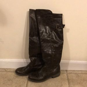 Shoes - Over the knee dark brown riding boots